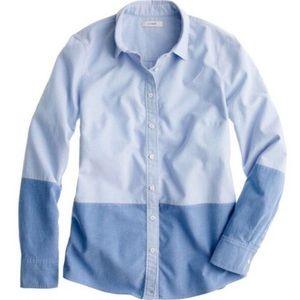 J.Crew Blue Color-block Chambray Oxford Boy Shirt
